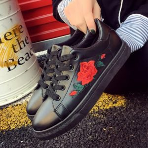 Rose Embroidered Lace-Up Shoes 3