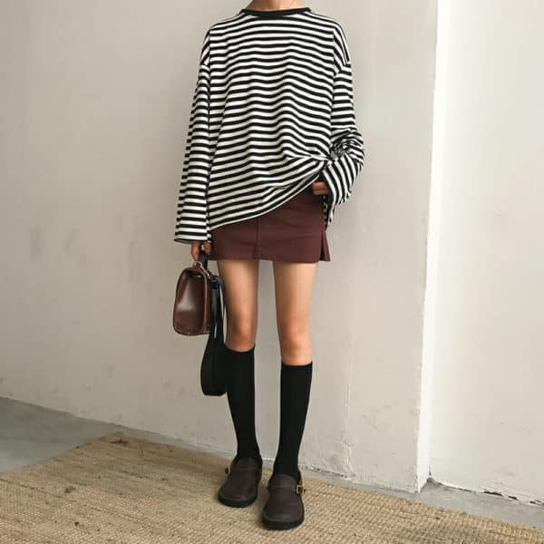 Loose Long Sleeve Striped All Match Top 3