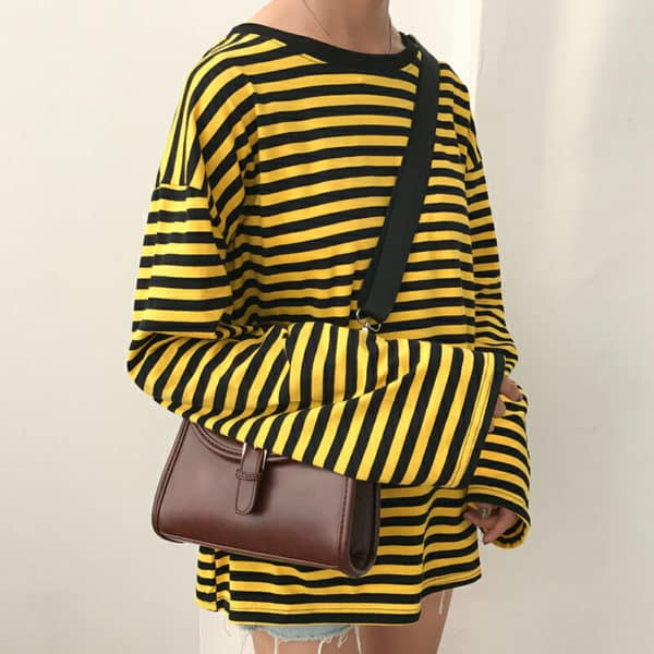 Loose Long Sleeve Striped All Match Top 2