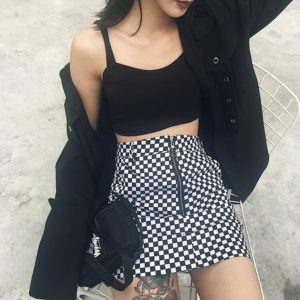 Zipper Ring Checkerboard Mini Skirt 3