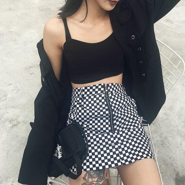 Zipper Ring Checkerboard Mini Skirt 3