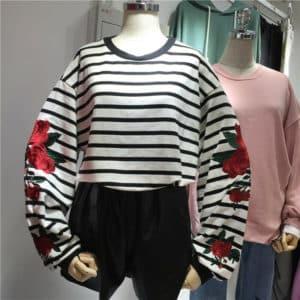 Striped Loose Sleeves Roses Sweatshirt 1