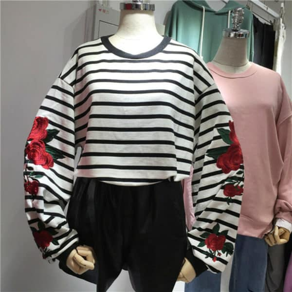 Striped Loose Sleeves Roses Sweatshirt 1