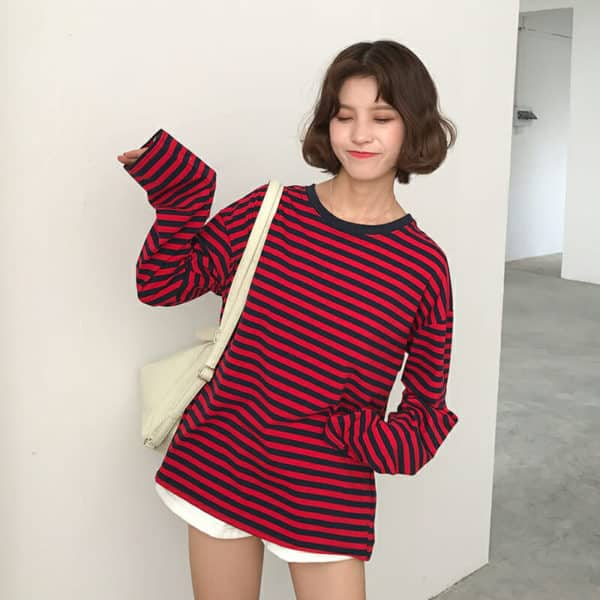 Loose Long Sleeve Striped All Match Top 1