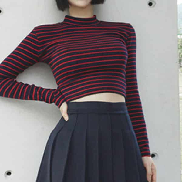 Turtleneck Long Sleeved Cropped Tee