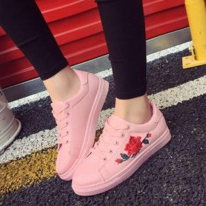 Rose Embroidered Lace-Up Shoes 4