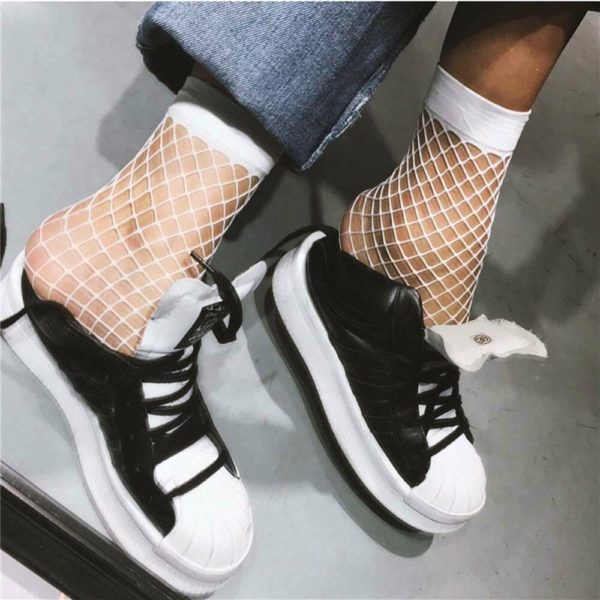 White Mesh Fishnet Ankle Socks 4