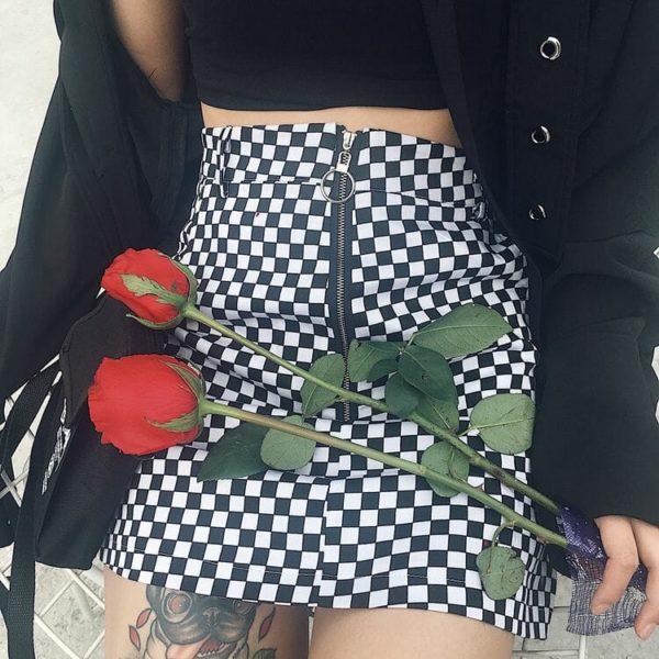 Zipper Ring Checkerboard Mini Skirt 1