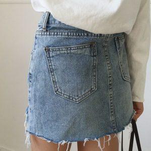 Irregular Edges Denim Skirt 3