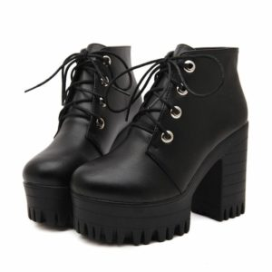 Black High Heels Lacing Platform Ankle Boots