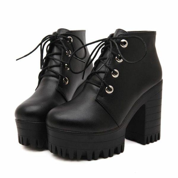 Black High Heels Lacing Platform Ankle Boots