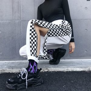 Checkerboard Zipper Split Trousers
