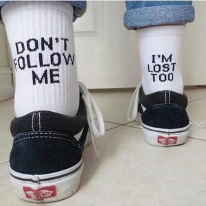 """Don't Follow Me. I'm Lost Too"" Socks"