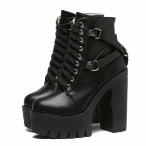 Lace-Up Platform Ankle Boots