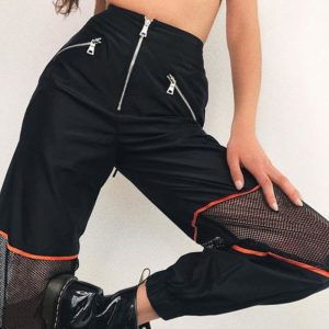 Meshed High Waist Trousers with Zipper
