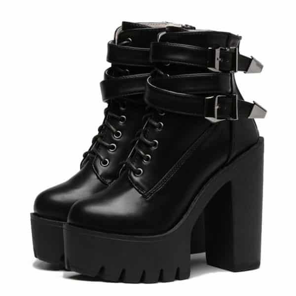 Platform Buckle Lace-Up Short Boots