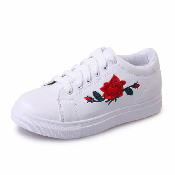 Rose Embroidered Lace-Up Shoes