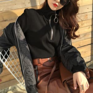 Turtleneck Sweater O-Ring Zipper Black