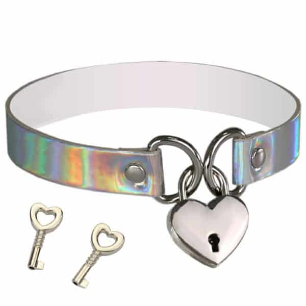 Holographic Lock Heart Choker
