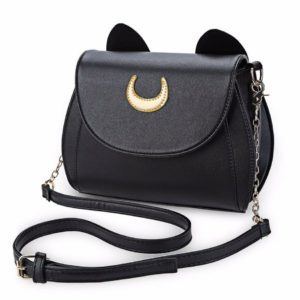 Black Luna Cat Moon Crossbody Bag