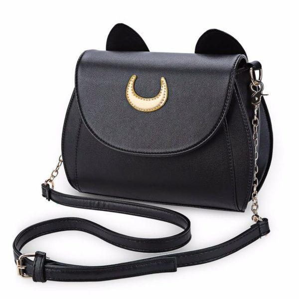 Black Luna Cat Moon Crossbody Bag