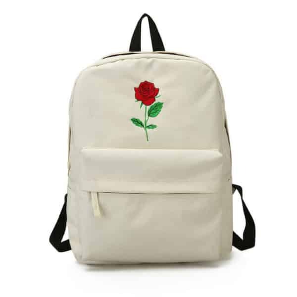 Rose Embroidered Backpack White