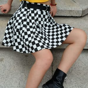 High Waist Checkered Skirt 1
