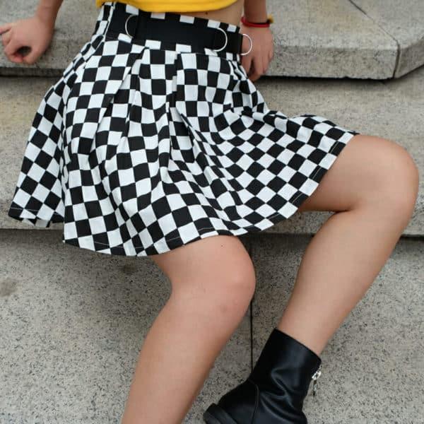 High Waist Checkered Skirt 1