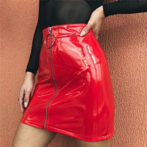 High Waist Vegan Leather Mini Skirt with Zipper
