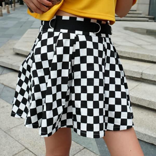 High Waist Checkerboard Skirt