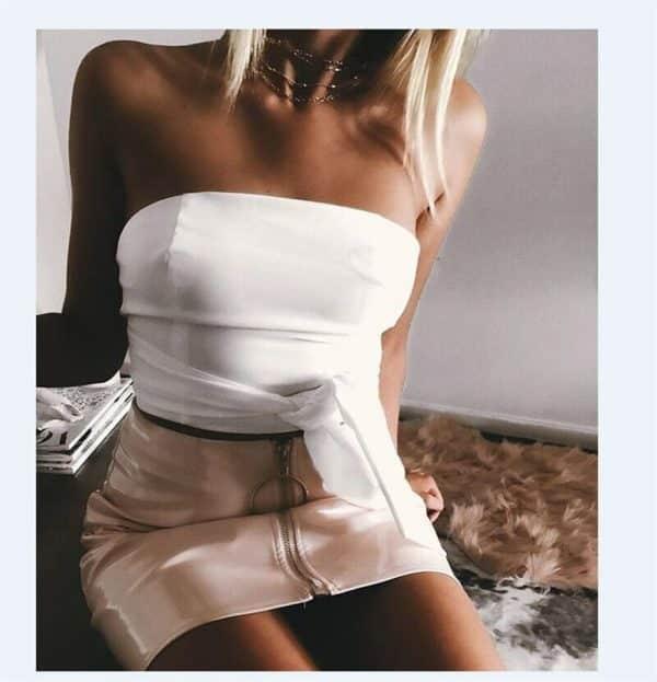 High Waist Vegan Leather Mini Skirt with Zipper 3
