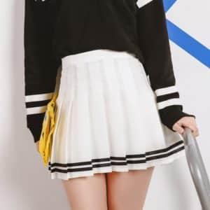 High Waist Mini Skirt with Stripes 1