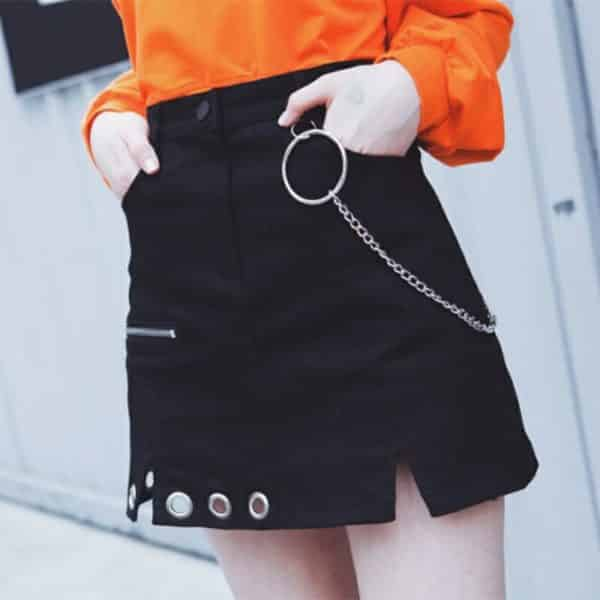 Irregular High Waist Skirt with Ring Chain
