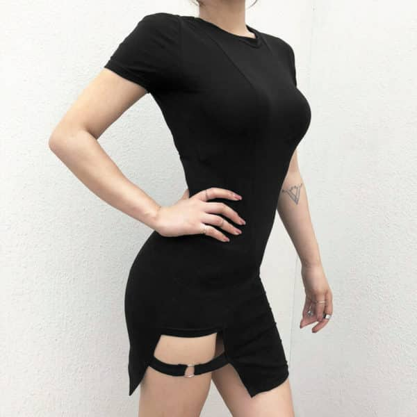 Asymmetrical Short Sleeve Mini Dress 1