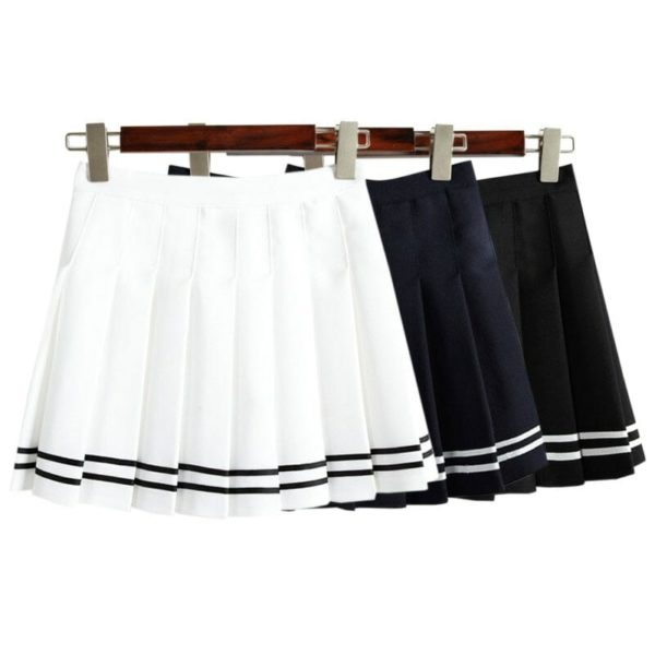 High Waist Mini Skirt with Stripes