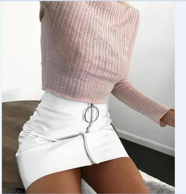 High Waist Vegan Leather Mini Skirt with Zipper 2