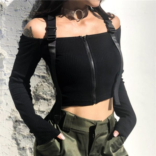 Off The Shoulder Crop Top with Zipper 2