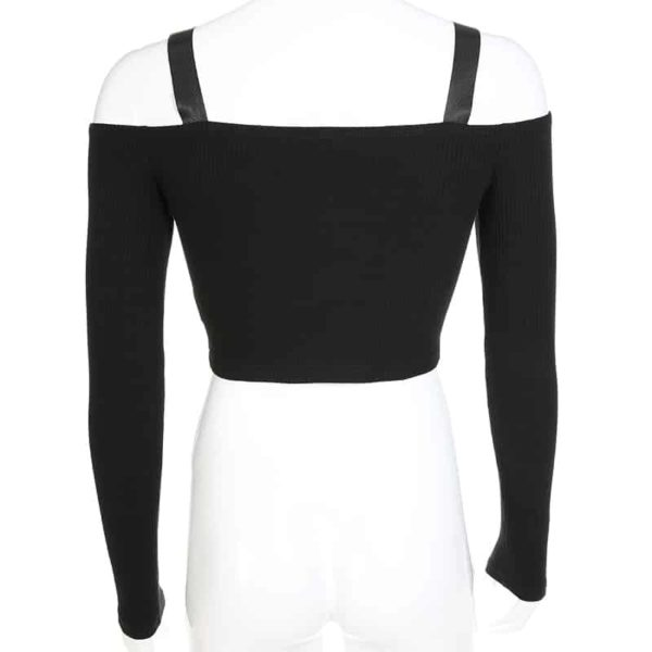 Off The Shoulder Crop Top with Zipper 5