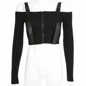 Off The Shoulder Crop Top with Zipper 3