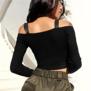 Off The Shoulder Crop Top with Zipper 1