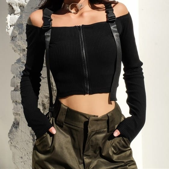 Off The Shoulder Crop Top with Zipper