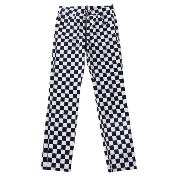 Checkerboard Straight Pants with Zipper 5