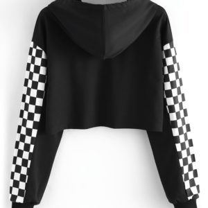 Checkerboard Sleeves Cropped Sweatshirt 3