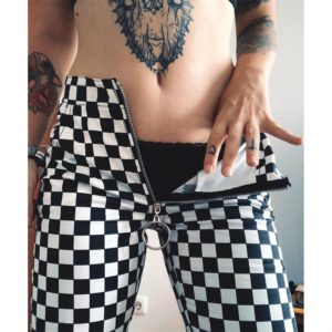 Checkerboard Straight Pants with Zipper 1