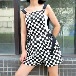 Checkerboard High Waist Romper 1