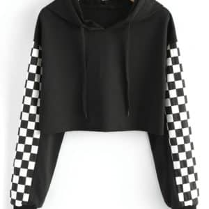 Checkerboard Sleeves Cropped Sweatshirt