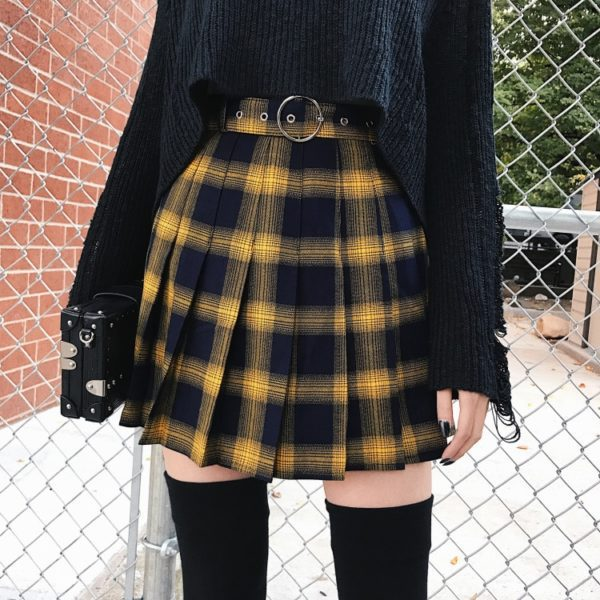 High Waist Gold & Black Plaid Mini Skirt