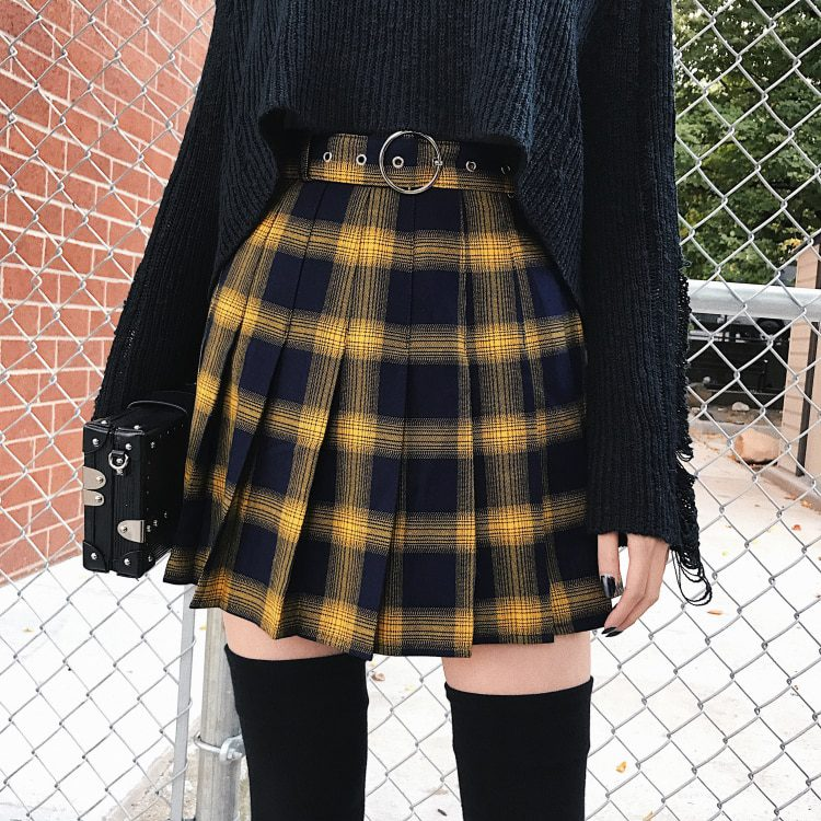 995744aaf9a013 High Waist Gold & Black Plaid Mini Skirt - Ninja Cosmico