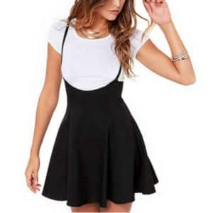 High Waist Mini Skirt with Suspenders