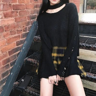 High Waist Gold & Black Plaid Mini Skirt 1